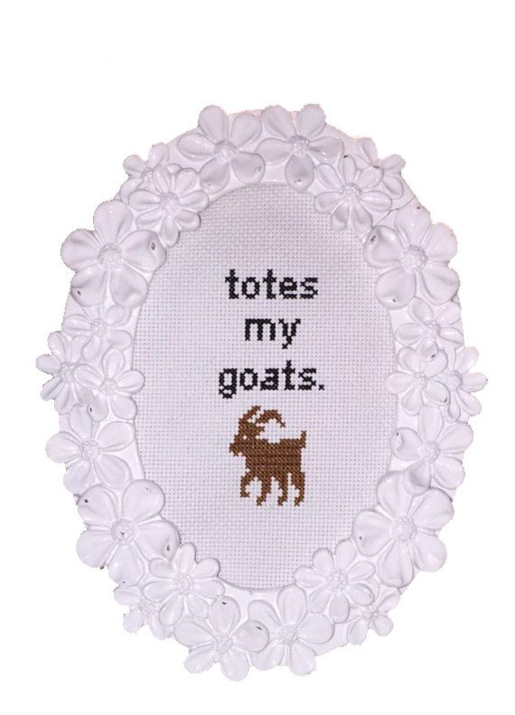 Totes My Goats Cross Stitch PATTERN Funny Cross by CableMeCozy