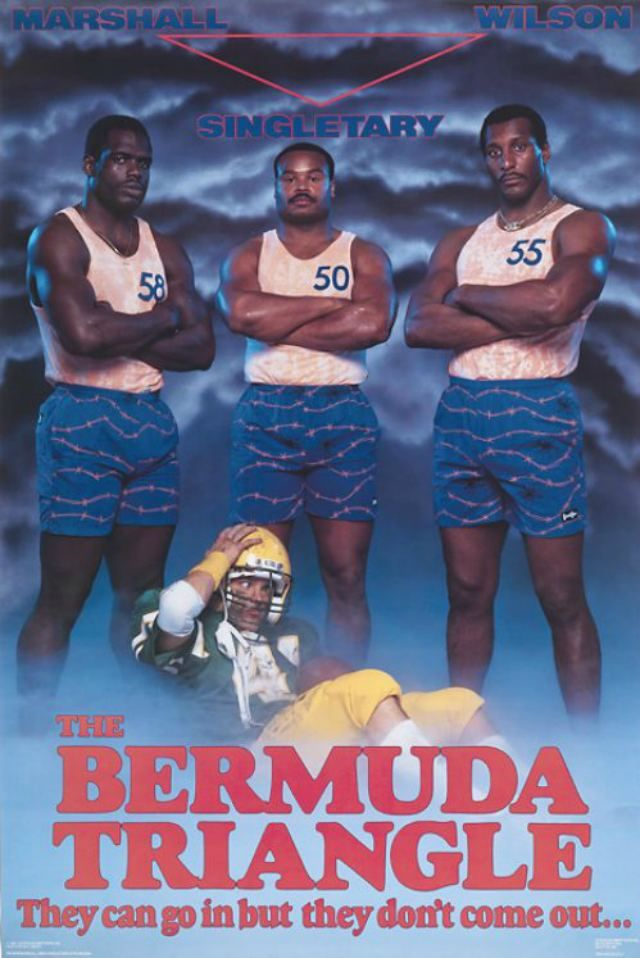 80's Sports Posters... including the Bermuda triangle with Wilbur Marshall, Mike Singletary and Otis Wilson
