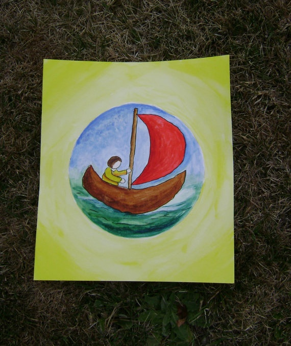 An original Waldorf  Inspired painting  The Boy in by softearthart, $30.00
