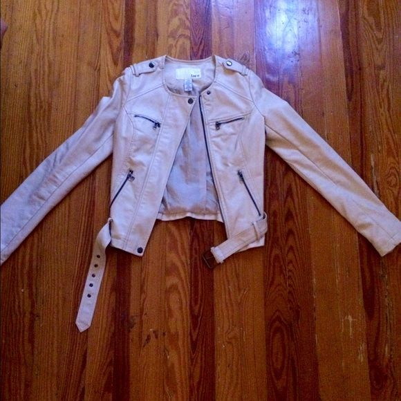 Bar III Cream Leather Jacket A beautiful faux cream leather jacket. Never worn, great zipper detailing and construction. (Make me an offer) Bar III Jackets & Coats