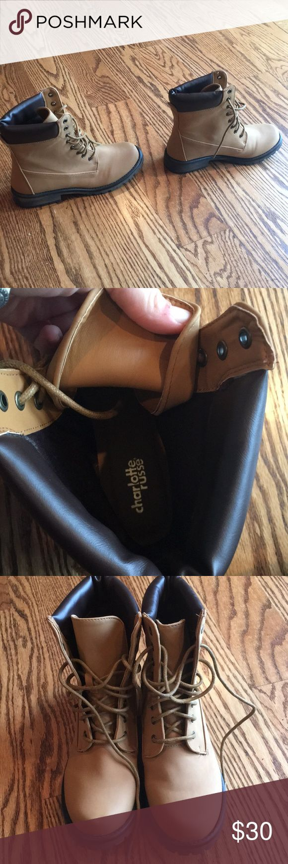 Charlotte Russe Jason boots (Timberland style) These are stylish mid length boots with Timberland look. However, they are not meant for snow or mountainous weather. They are brand new, no imperfections. They are a women's size 7. Charlotte Russe Shoes Combat & Moto Boots