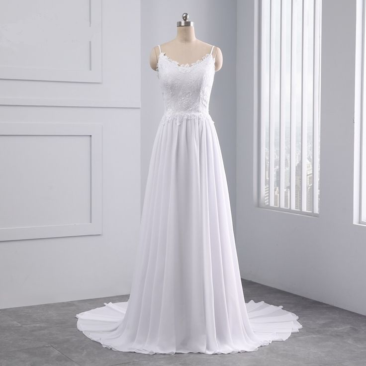 Beautiful Sleeveless Appliques Lace Pearls Beach Scalloped Wedding Dress in Wedding dresses Free worldwide shipping! Check it now!