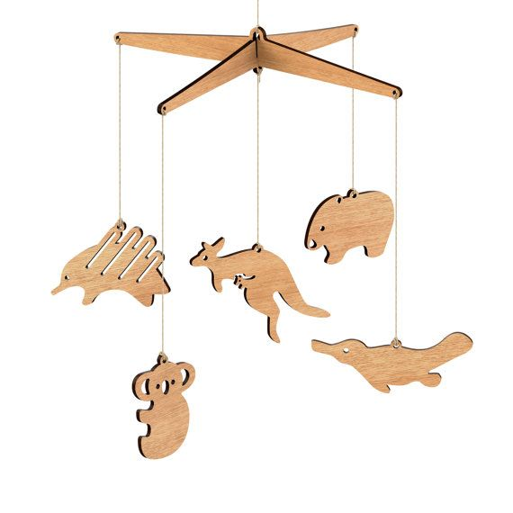 Wooden Australian Animal Nursery Baby Mobile  by ByrneWoodware