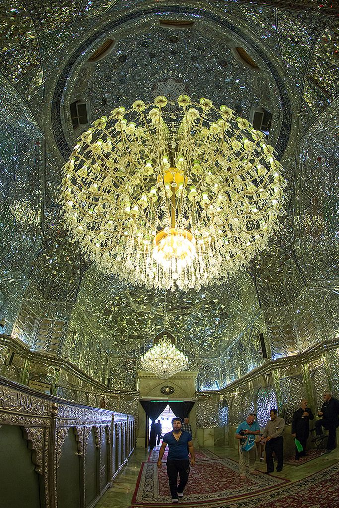 mislim shiite people hall of the shah-e-cheragh mausoleum, Fars Province…