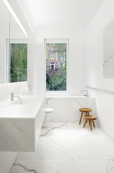 Gorgeous marble bathroom as idea of Master Bath. Look at the proportions of the room. Very similar. Love the simple veins
