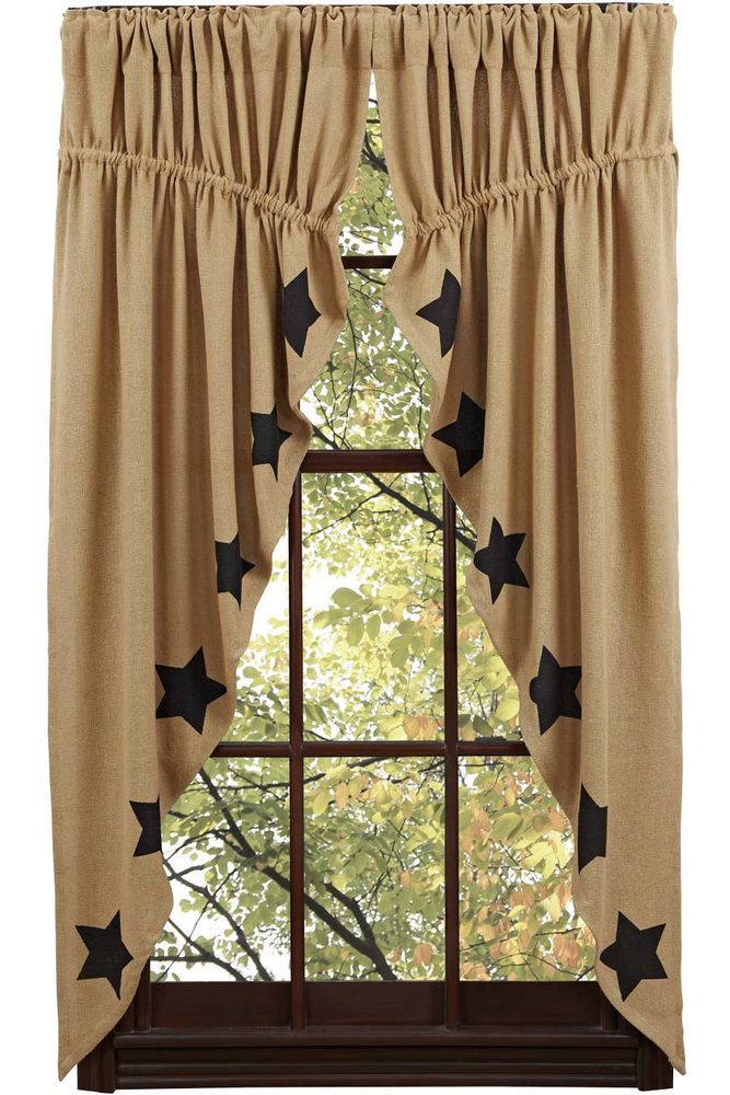 Delightful New Primitive Country Sturbridge BLACK STAR BURLAP Prairie Curtain Window  Swag #Cambridge #Country