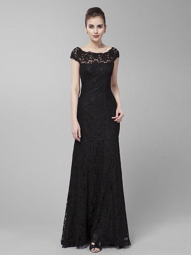 Formal Evening / Prom / Military Ball Dress - Black Plus Sizes / Petite Sheath/Column Jewel Sweep/Brush Train Lace - USD $89.99