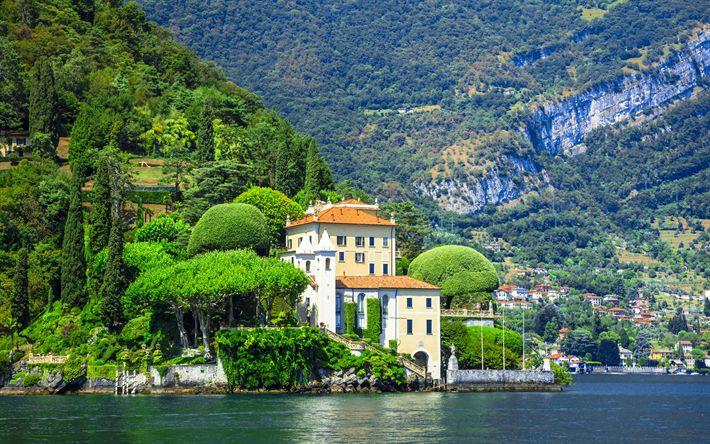 Download wallpapers Lake Como, 4k, mountains, italian landmarks, Italy, Europe, summer