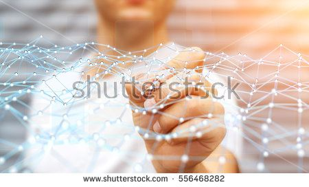 Businessman on blurred background touching flying network with digital pen 3D rendering