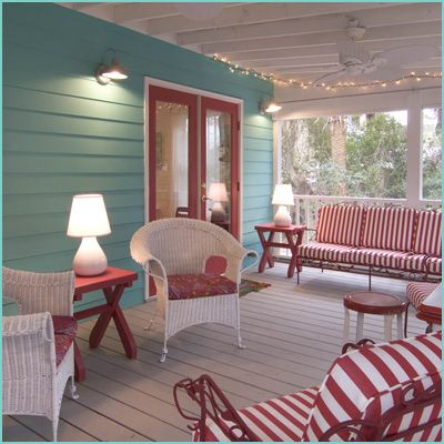 Love this space and the colors are so pretty. Think I might do the aqua on the back of the house in the porch area. : Red, Outdoor Living, Patio, Porches, Porch Ideas, Sunroom