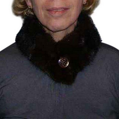 Mink skin collar - Brown - Natural fur