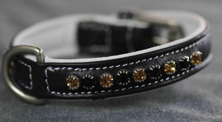 DC012 - Black and Topaz Single Row Crystal Dog Collar | Flexible Fit Equestrian