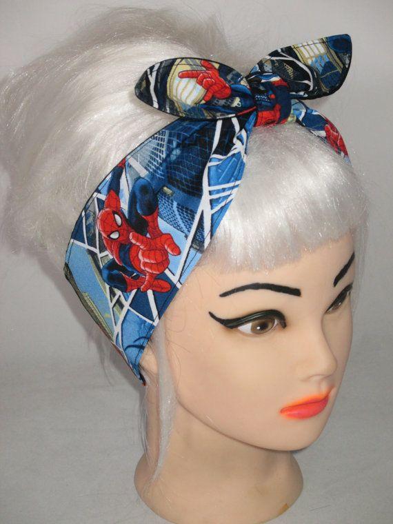 Superhero Headband  made from SUPERMAN Fabric Tie COMICS Style Head Wrap Scarf Bandana Dolly Bow