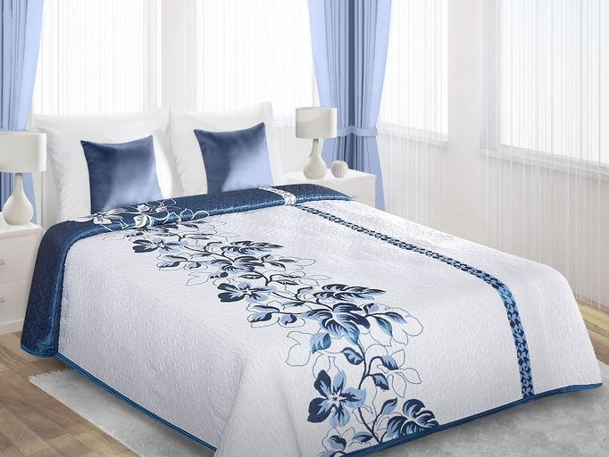 Niebieski motyw kwiatowy dwustronne narzuty w kolorze białym na łóżko