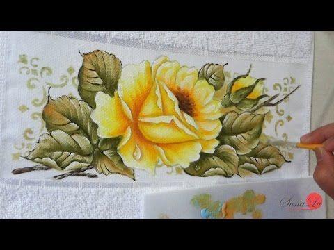 Rosa Amarela com Gota em tecido (Aula 123) - YouTube