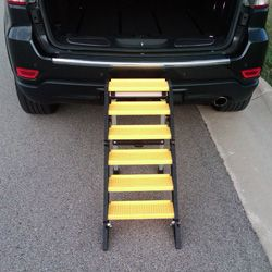 Dog ramps for trucks made better by WaterDog Adventure Gear. Our folding dog steps improve accessibility and are more versatile and portable.
