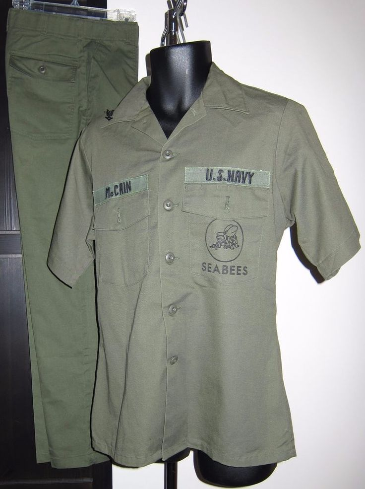 1970s Vietnam PO3 Pin Short Sleeved Seabees Work Uniform Shirt 15.5 Pants 32x31
