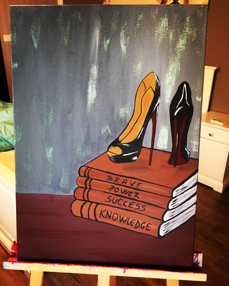 #canvas #canvaspainting #loubotin #loubotinheels #showes #highheels #paintingideas #painting #painted #paint #books #sexy #diva #glamous #girl #artforsale #paintingart #sparkle #glitter #blackandred #black #darkred #blackheels #loubotinshoes