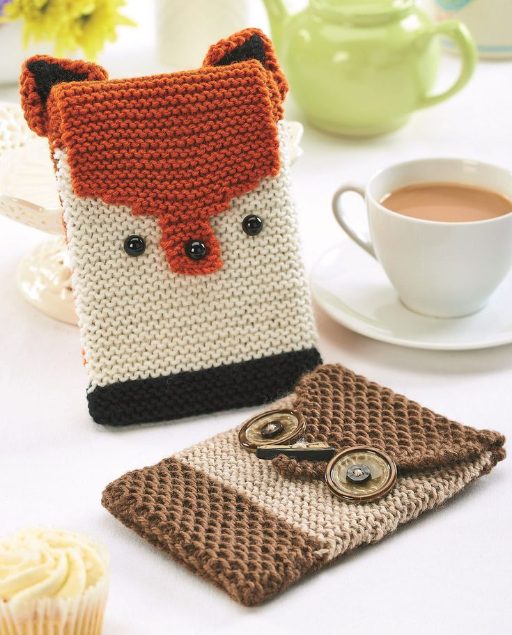 Free Knitting Pattern for Fox and Owl Cozies - These animal inspired Bosco E-Reader Cosies can be adapted for tablets and other mobile devices.Note that this download is a zip file and requires unzipping. Designed by Kelly Menzies