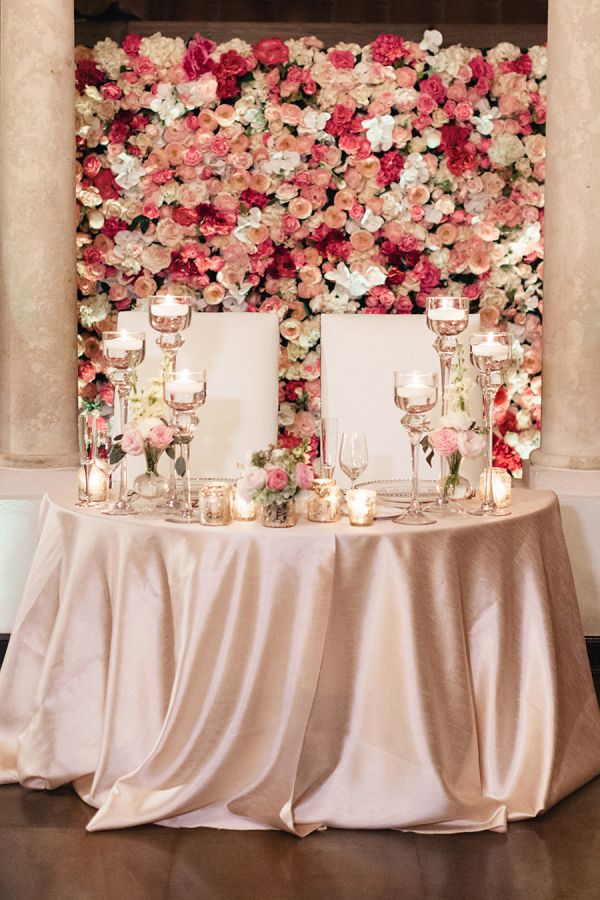 Wall of Flowers Behind Sweetheart Table | photography by http://www.elainepalladinoblog.com