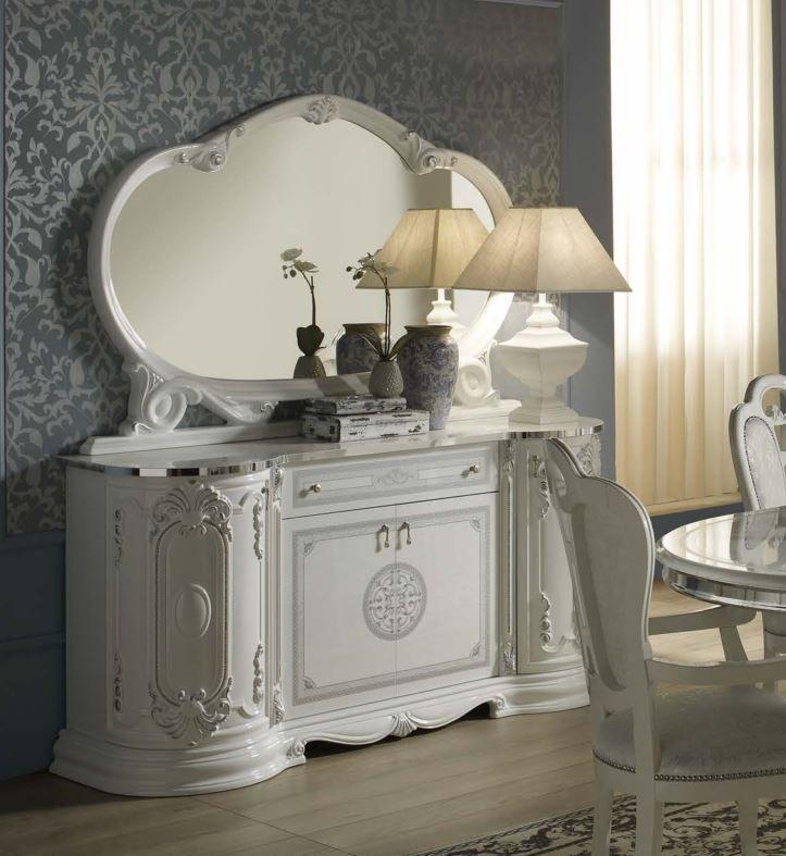 Geena White High Gloss Italian Made Sideboard and Mirror