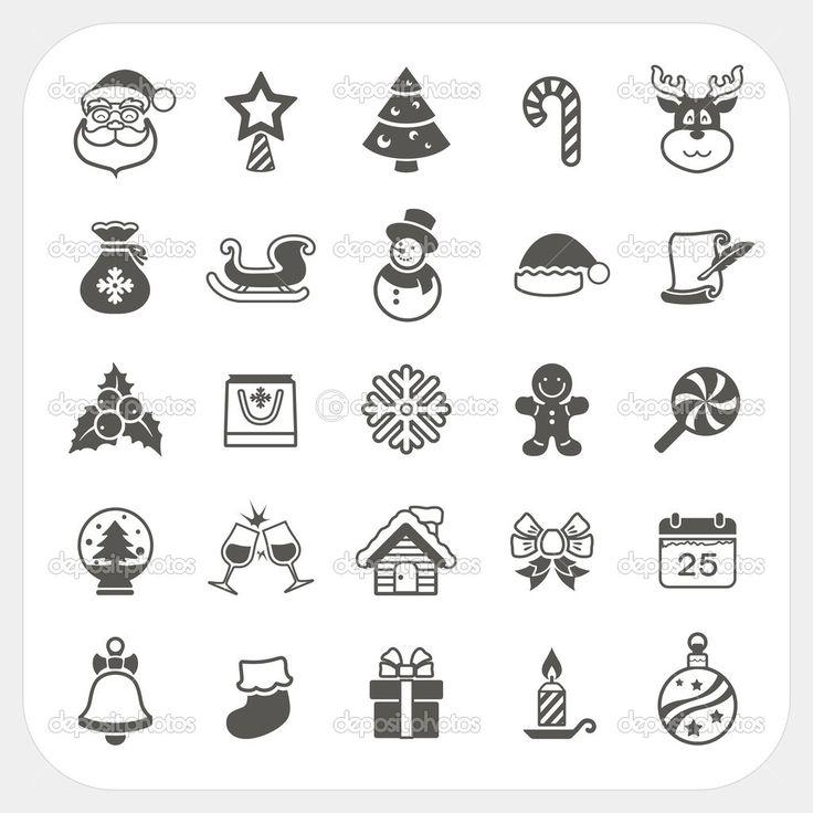 świąteczne i zimowe zestaw ikon - Ilustracja stockowa: 32587695