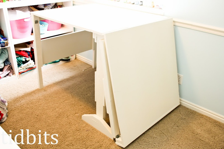 Diy folding craft sewing all purpose table crafty bits for Craft table with storage plans