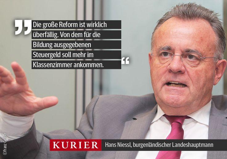 """Hans Niessl im KURIER-Gespräch über das """"Dauerthema"""" Bildung: http://kurier.at/politik/inland/niessl-ueber-schule-wir-machen-nicht-nur-ein-refoermchen/109.508.496"""