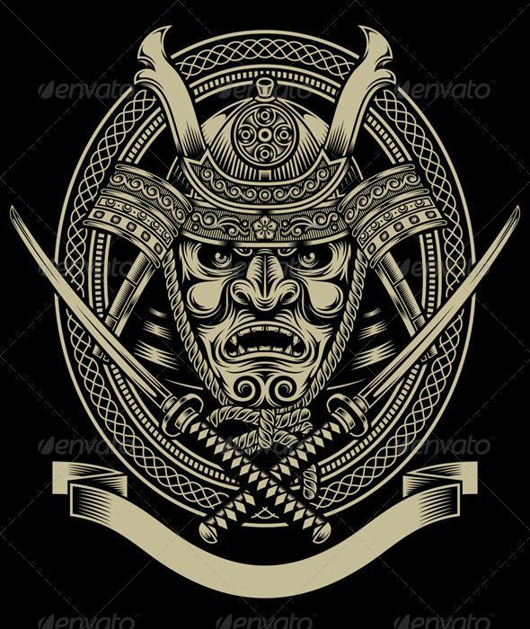 Samurai Warrior With Katana Sword — JPG Image #warrior #crest • Available here → https://graphicriver.net/item/samurai-warrior-with-katana-sword/7737855?ref=pxcr