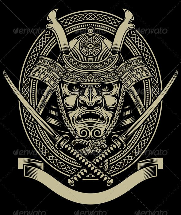 Samurai Warrior With Katana Sword — JPG Image #warrior #crest • Available here → https://graphicriver.net/item/samurai-warrior-with-katana-sword/7737855?ref=pxcr