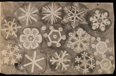 An ink wash study of snowflakes by Robert Hooke FRS, 1662.