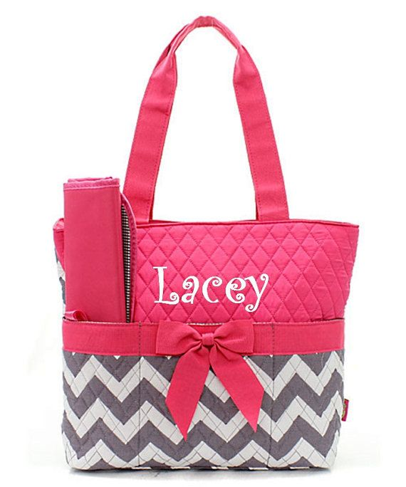 Personalized pink and white and gray chevron Diaper bag on Etsy, $29.95