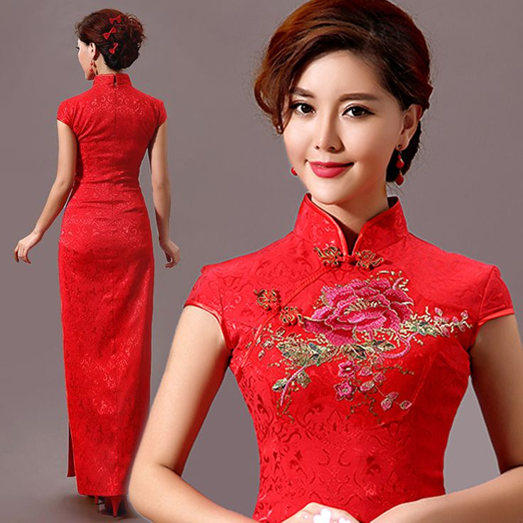 Shop elegant silk cheongsam, traditional Chinese red bridal dresses, sexy modernize Qipao from www.ModernQipao.com. Save 6% by share our products. Golden sequins floral embroidered red Chinese wedding cheongsam