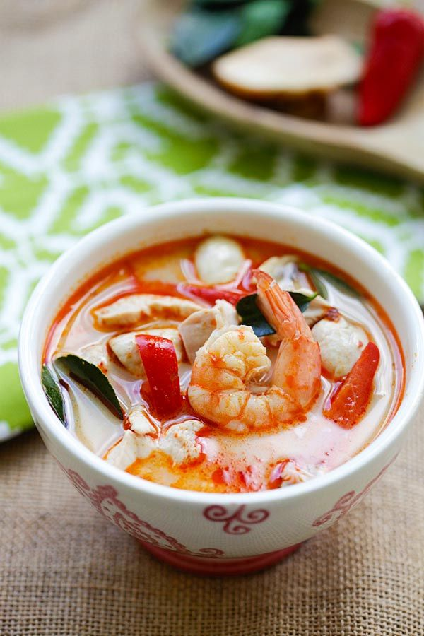 Thai Coconut Chicken and Shrimp Soup - the best soup you'll ever make in your kitchen. This Thai soup is to-die-for, better than Thai takeout   rasamalaysia.com