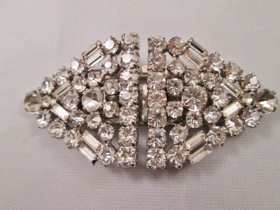 Sterling Silver Vintage Dress Clips Brooch Clear by BADTIQUE