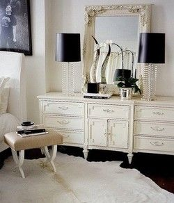 Contrast.: Mirror, Lamps, Black And White, Old Dressers, Shabby Chic, Black White, White Decor, Alexander Wang, Bedrooms Decor