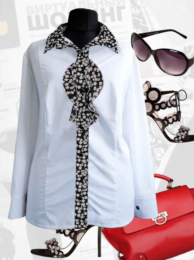 43$ Белая блузка для полных женщин с длинными рукавами, с рюшиками и вставками в белый цветочек Артикул 804, р50-64