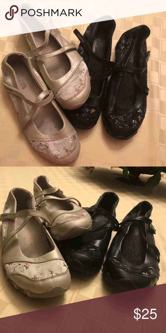 TWO!!! Count 'em!!! TWO pairs of shoes! 2 pair of Skechers flats for 1 low price. 1 pair of black and 1 pair of a pretty champagney-tan colored Mary Janes.  Both are ladies size 7. Skechers Shoes Flats & Loafers