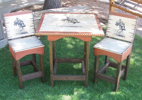 Rustic Western Pub Table with Bar Stools, Kitchen Table and Chairs, Barstools, Dinning Table and Chairs on Etsy, $815.00