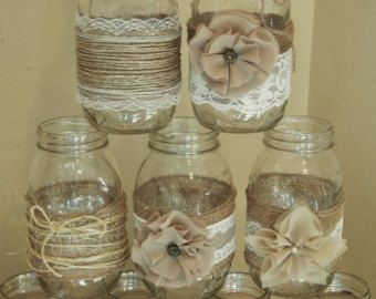 10 Shabby Chic Mason Jar Decorations Rustic by RusticWithElegance