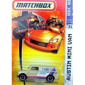 Matchbox 2007 MBX Metal #31 - Authentic British Auto Parts and Service Beige Color Austin Mini Van by Mattel. $3.00. Realistic Details. Diecast Metal & Plastic Parts. Age : 3+. 1/64 Scale. Matchbox 2007 MBX Metal #31 - Authentic British Auto Parts and Service Beige Color Austin Mini Van