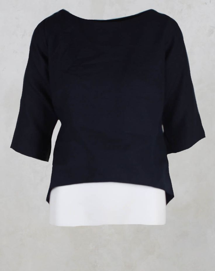 Top with Wrap Tie Back in Navy - Les Filles D'ailleurs