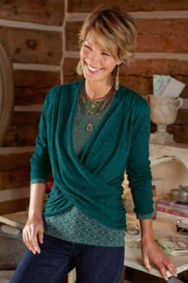 Lucerne Sweater - Surplice Sweater, Lightweight Sweater, Womens Cotton Sweater | Soft Surroundings. Love the teal. They also have a gorgeous burgundy-plum color that would work perfectly.
