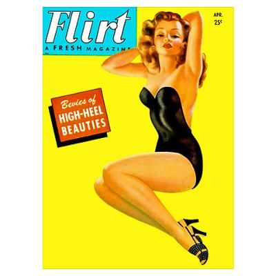 Vintage magazine cover artwork for nostalgia and fun. Go retro with authentic, colorful artwork from old magazine covers http://www.cafepress.com.au/+flirt_vintage_pin_up_girl_in_black_wall_art_poster,625806158