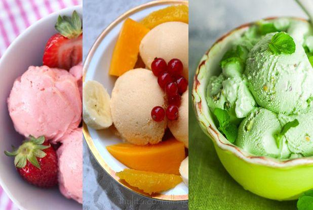Save Print Sorvete de Frutas com 3 Ingredientes Receita de sorvete que levam apenas 3 ingredientes, é muito fácil e fica bem cremoso, ótima sobremesa para o verão. INGREDIENTES 3 bananas congeladas 250 ml de leite de coco ½ xícara de morango ou qualquer outra fruta congelada