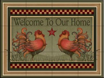 Tile Mural - Welcome Roosters  - Kitchen Backsplash Ideas farmhouse-tile-murals