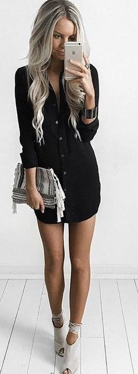 #summer #kirstyfleming #outfits | Black Shirt Dress