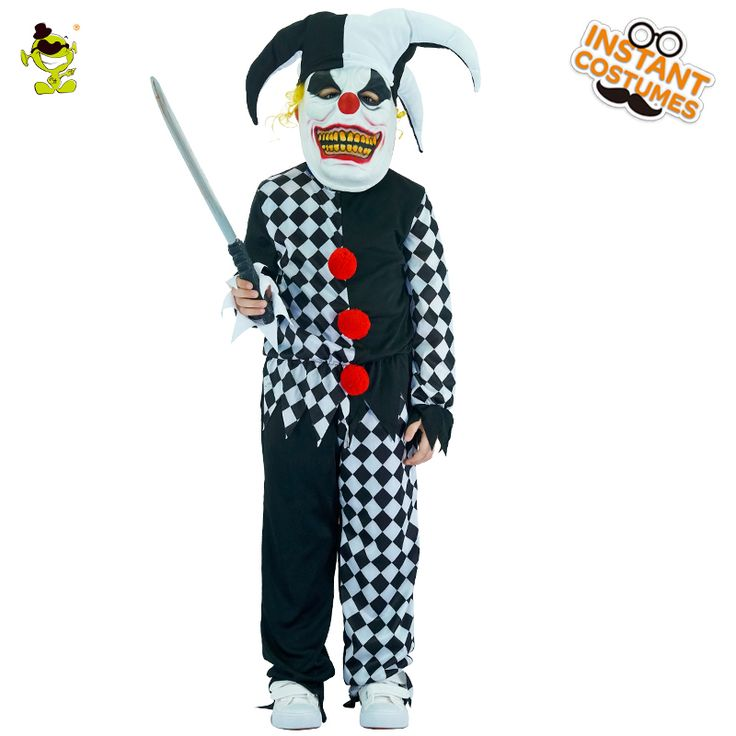 evil jester costumes boys scary clown killer role play outfit children party children halloween grim buffon cosplay clothes scary halloween costumes for - Scary Halloween Costumes For Children