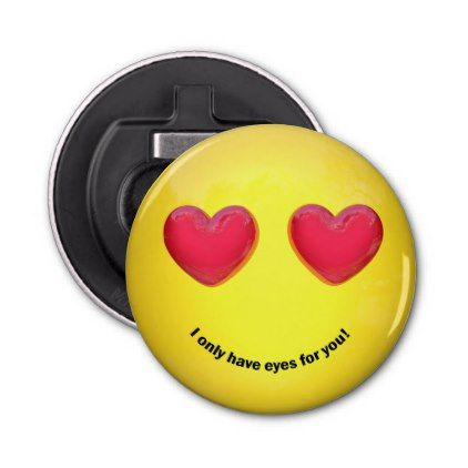 Emoji Emoticon with Heart Eyes - Bottle Opener - home gifts cool custom diy cyo