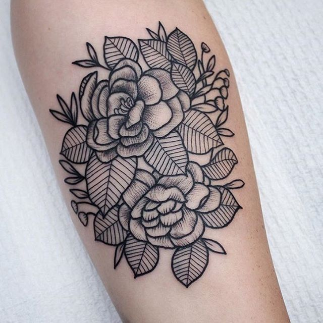 Tattooed by @sashimi_roll_tattooing  Flower and leaves